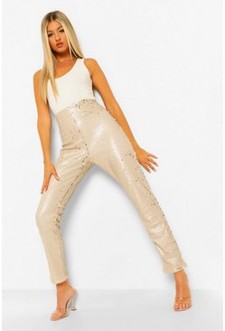 Silver Tall Sequin Trousers