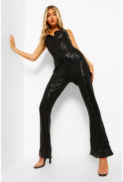 Black Sequin Plunge Jumpsuit