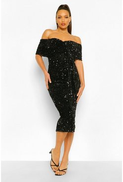 Black Tall Sequin Off The Shoulder Belted Midi Dress