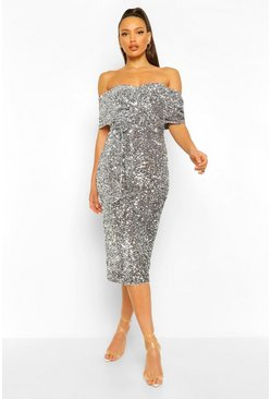 Silver Tall Sequin Bardot Belted Midi Dress