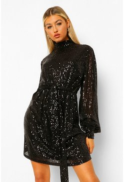 Black Tall Sequin Belted Balloon Sleeve Mini Dress