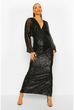 Black Tall Sequin Batwing Sleeve Maxi Dress