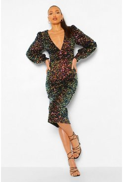 Black Tall Sequin Balloon Sleeve Plunge Midi Dress