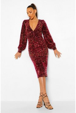 Red Tall Sequin Balloon Sleeve Plunge Midi Dress