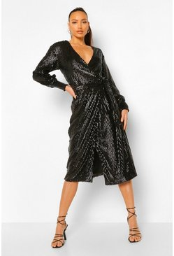 Black Tall Sequin Wrap Balloon Sleeve Midi Dress