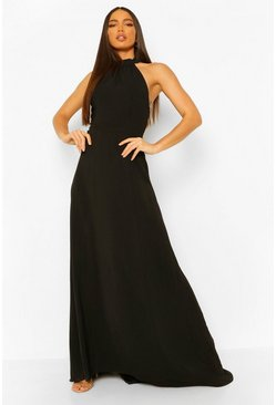 Black Tall Woven Halterneck Lace Detail Maxi Dress