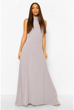 Grey Tall Woven Halterneck Lace Detail Maxi Dress