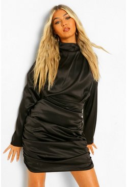 Black Tall Satin Ruched High Neck Mini Dress