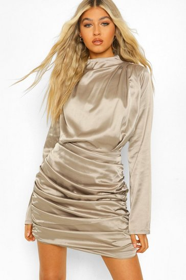 Champagne beige Tall Satin Ruched High Neck Mini Dress