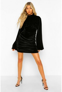 Black Tall Velour Ruched High Neck Mini Dress