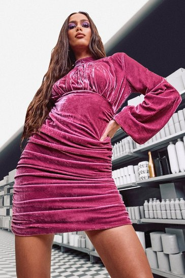 Pink Tall Velour Ruched High Neck Mini Dress