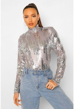 Grey Tall Contrast Sequin Long Sleeve High Neck Top