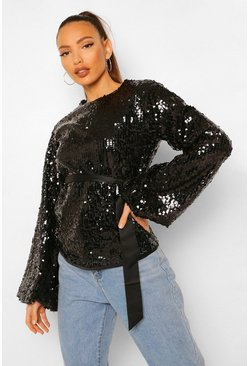 Black Tall Sequin Balloon Sleeve Belted Top