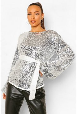 Silver Tall Sequin Balloon Sleeve Belted Top