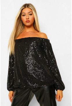 Black Tall Sequin Off The Shoulder Long Sleeve Top