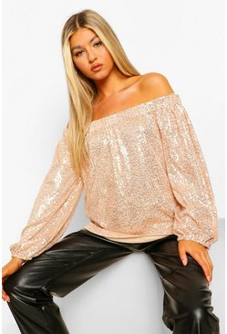 Gold metallic Tall Top Met Pailletten, Open Schouders En Lange Mouwen