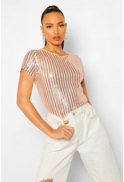 Blush pink Tall Gestreept T-Shirt Met Pailletten