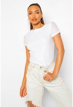 White Tall Striped Sequin T-Shirt