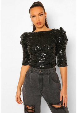 Black Tall Shoulder Detail Sequin Blouse