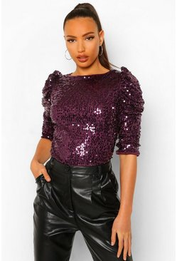Purple lila Tall Shoulder Detail Sequin Blouse
