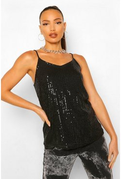 Black Tall Sequin Strappy Top