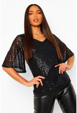 Black Tall Sequin Angel Sleeve Top