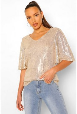 Gold metallic Tall Top Met Pailletten En Engelmouwen