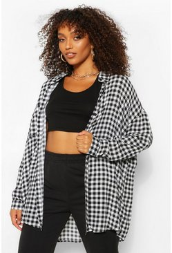Black Tall Oversized Gingham Shirt