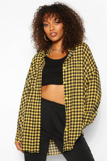 Yellow Tall Oversized Gingham Shirt