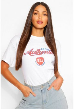 White Tall 'Brooklyn USA' Slogan T-Shirt