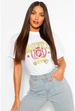 White Tall 'Nashville' Slogan T-Shirt