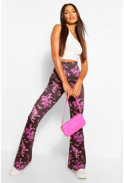 Purple Tall Slinky Oriental Print Flared Trousers