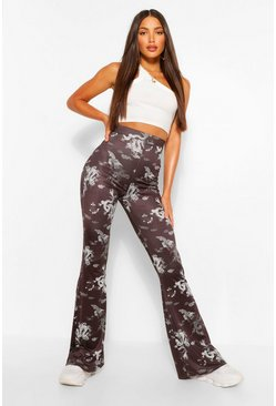 White Tall Slinky Oriental Print Flared Trousers