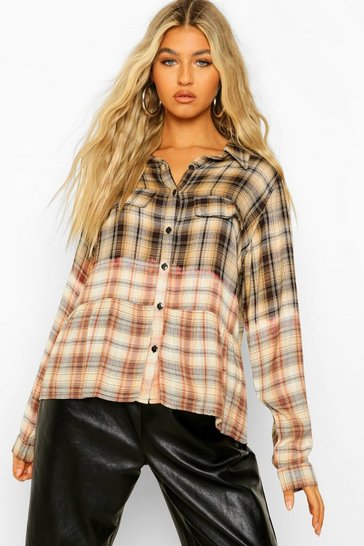 Brown Tall Woven Check Bleached Ruffle Shirt