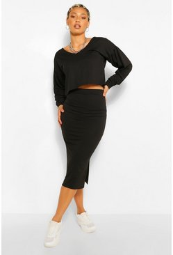Black Tall Balloon Sleeve Top And Midi Skirt Set