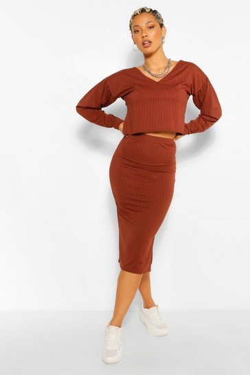 Chocolate brown Tall Balloon Sleeve Top And Midi Skirt Set