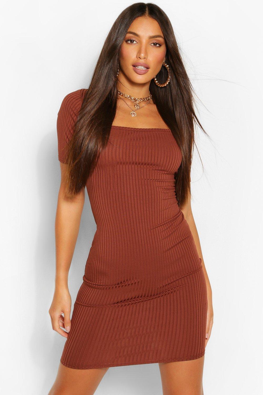 Tall Clothing Tall Rib Square Neck Mini Dress