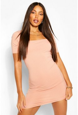 Peach orange Tall Rib Square Neck Mini Dress