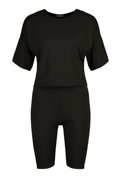 Black Tall Oversized T-Shirt And Shorts Rib Co-Ord