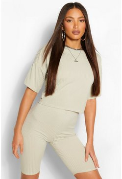 Sage green Tall Oversized T-Shirt And Shorts Rib Co-Ord