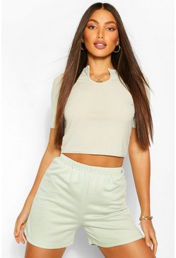 Sage Tall Rib Notch Front Crop T-Shirt