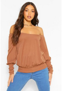 Chocolate brown Tall Off The Shoulder Rib Top