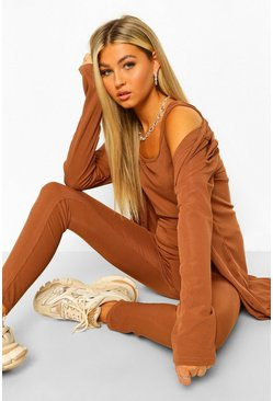 Chocolate Tall Rib Vest Leggings & Cardigan 3 Piece Set