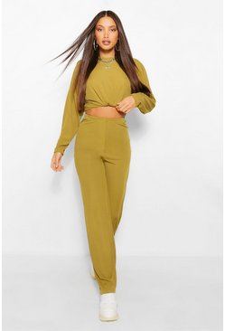 Olive green Tall Rib Wide Leg Lounge Trousers