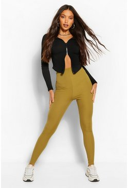 Olive green Tall Rib High Waisted Leggings