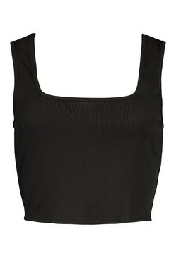 Black Tall Rib Square Neck Crop Vest Top