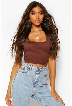 Chocolate brown Tall Rib Square Neck Crop Vest Top