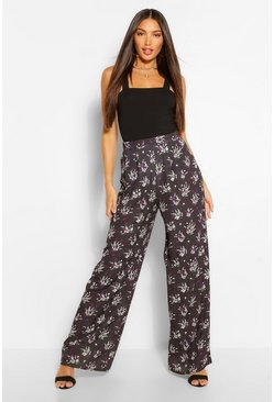 Black Tall Woven Ditsy Floral High Rise Wide Leg Trousers