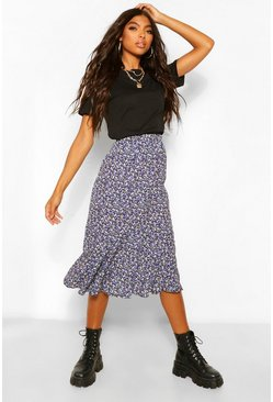 Black Tall Woven Ditsy Floral High Rise Midi Skirt