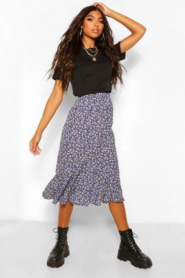 Black Tall Woven Ditsy Floral High Rise Midi Skirt